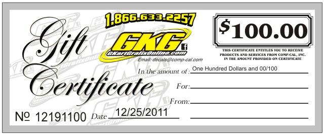 G-KART GRAFIX $100.00 GIFT CERTIFICATE